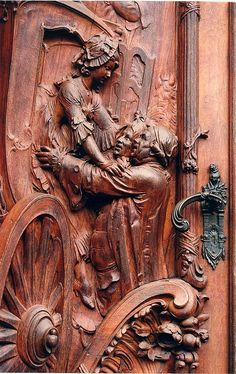 Worms, Germany | Our amazing world! / A carved wooden door in Worms, Germany.