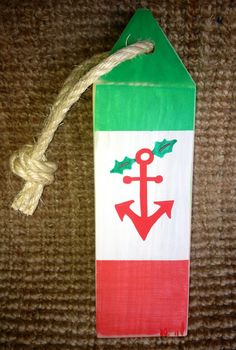 Nautical distressed wood Christmas buoy anchor by NautiWoodWorks, $24.00