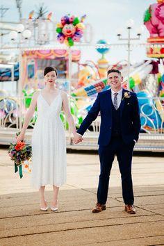 Colourful & Fun Seaside Funfair Portsmouth Wedding Wedding Ties, Wedding Music, Seaside Wedding, Floral Wedding, English Country Weddings, Fun Fair, Liberty Print, Portsmouth, Real Weddings