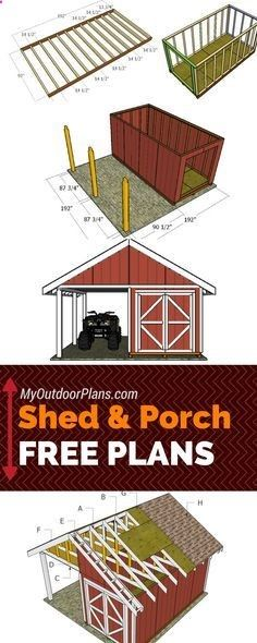 Shed Plans - Free shed with porch plans - Step by step instructions for you to l. - Shed Plans – Free shed with porch plans – Step by step instructions for you to learn how to bui - Wood Shed Plans, Free Shed Plans, Shed Building Plans, Storage Shed Plans, Lean To Shed Plans, Building Homes, Building Ideas, Backyard Sheds, Outdoor Sheds