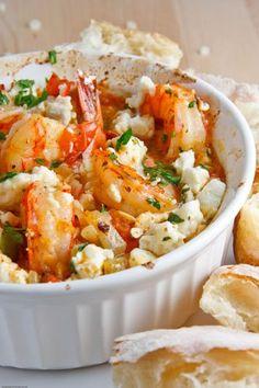 Mastic Garides Saganaki (Shrimp Saganaki)-shrimp, garlic, feta