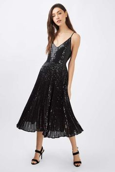 Sequin Pleated Midi Dress - Topshop USA