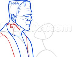 how to draw frankenstein and his bride step 6