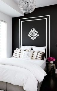 fresh bedroom, youthful bedroom, black walls, painted headboard, black and white bedroom Black Accent Walls, Black Walls, White Walls, Black Painted Walls, Striped Walls, Hand Painted, Home Interior, Interior Design, Ikea Interior