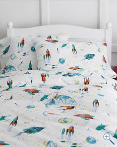 Glow-in-the-Dark White Rockets Flannel Bedding? I'm sold. Gotta get these for my boys!