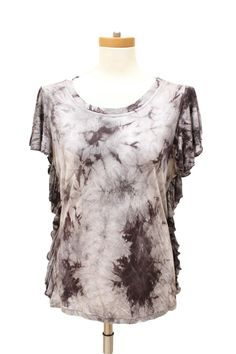 Alberto Makali Gray Print Tie Dyed Knit Top Size L