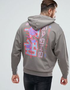 ASOS Oversized Hoodie With Rose & Chinese Text Back Print - Gray