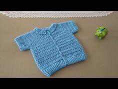 Como hacer en crochet o ganchillo una chaqueta, chambrita o saquito de verano , de mangas cortas con cuello calado para bebés entre 6 y 9 meses de edad. | aprender-crochet.com