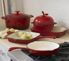 """Green"" Red Enamel Cookware...what is this brand and where can I find it?"