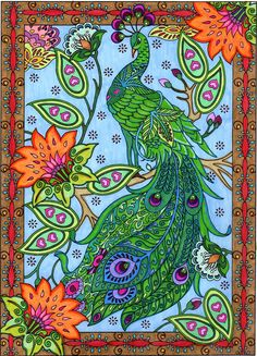 completed coloring pages of creative haven mehnda designs - Yahoo Search Results Adult Coloring Pages, Coloring Books, Kite Designs, Art Nouveau, Christmas Colors, Mandala Art, Mehndi Designs, Rock Art, My Drawings