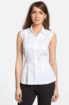 Free shipping and returns on Classiques Entier® Sleeveless Peplum Blouse at Nordstrom.com. A go-to staple for your spring work wardrobe, a point-collar blouse is tailored from a fine cotton-blend poplin in a figure-flattering shape with a pleated peplum hem.