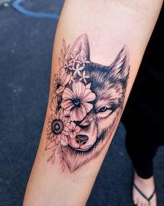 "Lola on Instagram: ""Flower Wolf  #femaletattooartist #miamitattooartist #miamitattoos #eternalink #fkirons #hialeahtattoos #tattooartist #inkedmag #findyourink…"" Cute Tattoos, Flower Tattoos, Small Tattoos, Tatoo Designs, Tattoo Designs For Women, Indian Feather Tattoos, Wolf Tattoos For Women, Persian Tattoo, Arrow Tattoo Design"