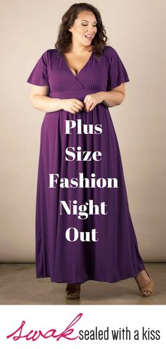 Plus Size Fashion Night Out. Our best-selling, plus size Classic Maxi Dress in eggplant purple has a flattering deep crossover V-neckline. Perfect for a casual wedding or a spring or summer party. Plus Size Clothing Stores, Plus Size Womens Clothing, Plus Size Maxi Dresses, Plus Size Outfits, Plus Size Formal, Stylish Plus, Plus Size Fashion For Women, Plus Size Wedding, Fashion Night