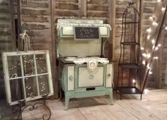 Vintage 1930's stove used as a sweet table for weddings at The Still Farm