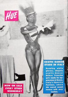 Delore Francine, exotic dancer stars in Italy. Hue Magazine April 1954
