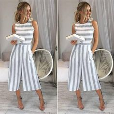 poedkl Jumpsuit for Women Print Strappy Holiday Long Playsuits Trouser