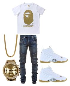 """•"" by rjayniice ❤ liked on Polyvore featuring NIKE, Balmain, Boohoo, King Ice, men's fashion and menswear"