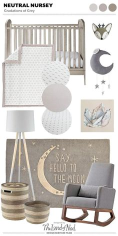 When designing with a gender neutral grey nursery use gradations of grey. Grey is a gender neutral hue and a perfect foundation color for any space. The post Gender Neutral Grey Nursery Moodboard appeared first on Children's Room. Baby Boy Rooms, Baby Bedroom, Baby Room Decor, Baby Boy Nurseries, Nursery Room, Girl Nursery, Girl Room, Disney Nursery, Boho Nursery