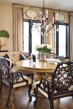 Dining room, round table, bench,  mix light color furniture with dark