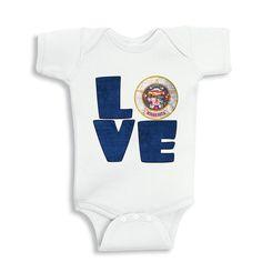 Love MINNESOTA baby bodysuit by bodysuitsbynany on Etsy