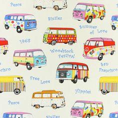 Canvas Summer of Love 1 - Coton - Polyester - écru Decoupage Vintage, Decoupage Paper, Vw T1, Volkswagen, Flower Power Party, Hippie Party, Woodstock Festival, Hippie Peace, Surf Art