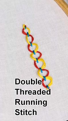 Double Threaded Running Stitch - Embroidery For Beginners Hand Embroidery Videos, Embroidery Stitches Tutorial, Sewing Stitches, Embroidery For Beginners, Hand Embroidery Patterns, Ribbon Embroidery, Cross Stitch Embroidery, Simple Embroidery, Embroidery Techniques