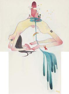 Aya Takano For Hope 2003 acrylic on canvas, in 2 parts. Aya Takano, Takashi Murakami, Anime Girl Cute, Creepy Cute, Nara, Aesthetic Art, Designs To Draw, Asian Art, Art Inspo