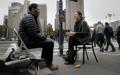 """San Franciscans were offered something free on the streets Thursday — just the opportunity to talk and be listened to for a few minutes — but most simply rushed by, burying their faces in their smartphones or wondering what the catch was.  A few, though, noticed the """"You Talk, We Listen"""" signs, saw an opportunity and sat down in a folding chair across from a stranger.  Ten minutes later, the pair had covered a range of topics, from Swanson's move from Chicago to the city two years ago to…"""