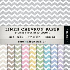 Linen Chevron Digital Paper Set, 10 sheets for blog graphics, scrapbooking, digital collage, clip art ClipArt, Instant Download, printable