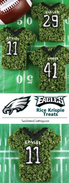 These Philadelphia Eagles Rice Krispie Treats Team Jerseys are a fun football dessert for a game day football party, an NFL playoff party, a Super Bowl party or as a special snack for the Philadelphia Eagles fans in your life. Go Eagles! And follow us for more fun Super Bowl Food Ideas. #eagles #philadelphiaeagles #superbowlfood #gamedayfood
