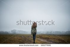 beautiful girl traveling on the road - stock photo