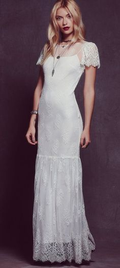 White Boho Maxi Dress with Short Sleeves makes any occasion more special