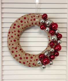 Polka Dot Burlap Christmas Wreath - ContemporaryCrafting on Etsy