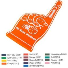 Promotional Foam Hand Item (Min Order: Customize your Foam Hands with your company logo and with no setup fees. The Promotional Foam Hand is decorated. Promotional Foam Hands are customized with your company logo for your branding needs. Orange And Purple, Teal, Pink, Football Season, Kelly Green, Hunter Green, Promotion, Advertising Ideas, Company Logo