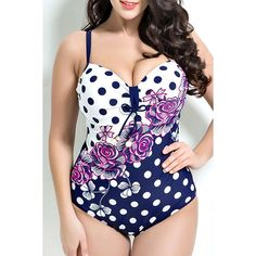 Floral Printed Polka Dot Push Up One Piece Swimwear - PURPLISH BLUE 7XL