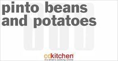 A 5-star recipe for Pinto Beans And Potatoes made with water, potatoes, chicken broth, onion, garlic, jalapeno pepper, pinto beans, parsley