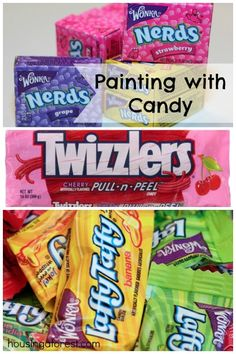 3 Fun Ways to Paint with Candy ~ creative way to play with candy that your kids will love. Paint, stamps and melting art all in one post!