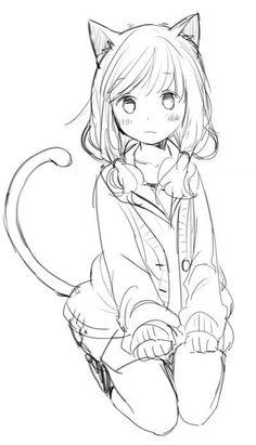 LaLaLove Anime ! Anime Neko, Mangaka Anime, Kawaii Anime Girl, Anime Art Girl, Anime Drawings Sketches, Anime Sketch, Kawaii Drawings, Cute Drawings, Art Manga