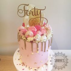40th Birthday Cake In Rose Gold And Blush Pink With 24k Leaf Detail