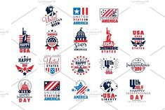 United states of America logo templates set, Happy Independence Day badges vector Illustrations. Banner #badge #america