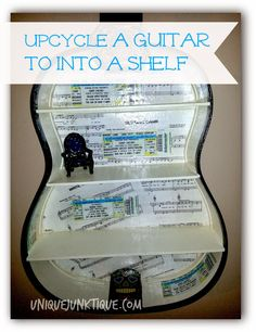 up cycled guitar shelf by uniquejunktique What a great idea to use an old guitar Upcycled Crafts, Repurposed, Diy Crafts, Guitar Shelf, Aluminum Awnings, Guitar Tutorial, Diy Shower, Home Repair, Fun To Be One