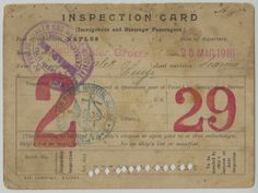 ALT:Ellis Island Inspection Card, 1910 http://www.heinzhistorycenter.org/collections/italian-american-program/collection