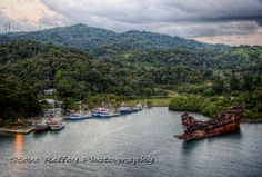 Roatan Island Honduras early morning with the beautiful bay and a shipwreck