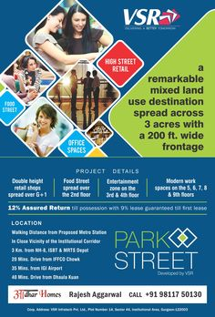 VSR's Park Street, Sector 85, Gurgaon ! Investment Starts @ 19 Lacs onwards, Call for more @ +91-9811750130    VSR Infratech coming up with a new commercial project Park Street in sector 85 gurgaon, VSR Park Street offers shops, offices and food court with Assured Return and Lease Gaurantee. Get all details @ +91 - 9811 750 130