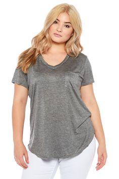 H.GREY BOZZOLO V-NECK BASIC TOP #vnecktop #basicshirt #basicgreyshirt #greytshirt #plussizetop #plussizefashion