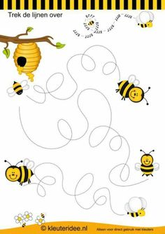 Crafts,Actvities and Worksheets for Preschool,Toddler and Kindergarten.Free printables and activity pages for free.Lots of worksheets and coloring pages. Bee Activities, Preschool Themes, Preschool Worksheets, Bee Party, Pre Writing, Bugs And Insects, Kids And Parenting, Kids Learning, Crafts For Kids