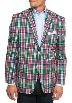 Saddlebred Navy Red Plaid Classic-Fit NavyRed Plaid Sport Coat