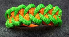 Bracelet, shark jawbone, neon green and neon orange