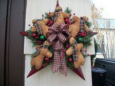 "primitive+christmas+wreath | CHRISTMAS /PRIMITIVE ""GINGERBREAD "" BARN STAR WREATH 
