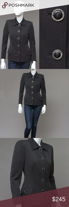 """VINTAGE GIANNI VERSACE MEDUSA BLAZER WOOL JACKET CHIC GIANNI ERA military jacket, made of a charcoal pinstripes wool.  Features functioning flap pockets, fully lined + fabulous large iconic Medusa head buttons throughout and closure.  Fabulous power female piece, boardroom and jeans alike!  Bust: 31-34"""" 